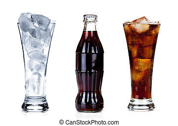 Bottle of soda with two glasses isolated on white background