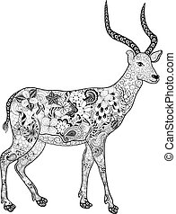 "Antelope doodle - Illustration ""Antelope"" was created in..."