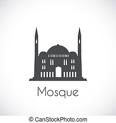 Mosque Single flat icon on white background Muslim cathedral...