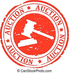 Auction - Scratched round red stamp with the inscription...