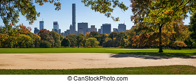 Fall in Central Park Great Lawn, Midtown skyscrapers, New...