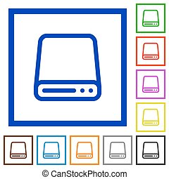 Hard disk framed flat icons - Set of color square framed...