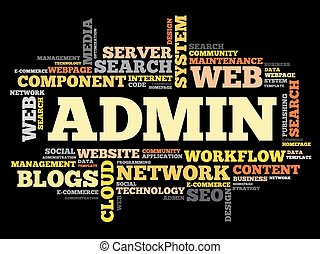 ADMIN word cloud, security concept