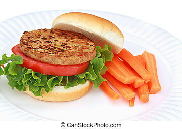 Vegan Burger - Delicious soy based vegan burger with fresh...