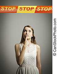 Girl in white and STOP line. - Girl in white and STOP line...