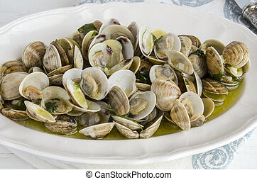 Clams with garlic served on a plate