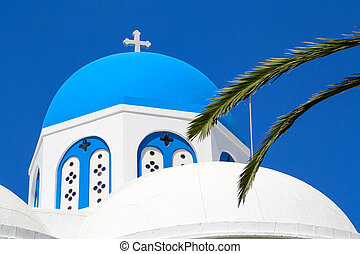 Top Naxos Church - A typical church with blue dome in Naxos