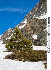 Alps in winter - The Alpe d Huez ski domain in the French...