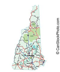 New Hampshire Map - New Hampshire USA Interstate Map, Vector...