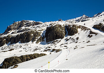 Alps in winter - The Alpe d Huez ski domain in the French...