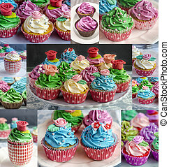 Delicious decorated cupcakes - Close-up of delicious...