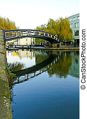 Camden bridge - Pedestrian steel bridge over canal in Camden...