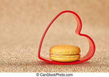 Valentines Day, Love HeartMacaron french dessert -...