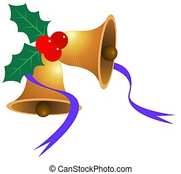 Jingle bells - Illustration of jingle bell and leaf in...