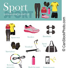 Fitness isolated icons set and banner. Sport equipment and accessories. Training concept vector illustration.