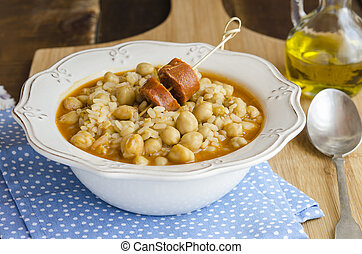 Chickpea stew with rice and chorizo