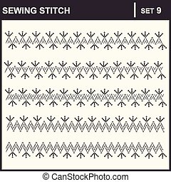 0116_36 sewing stitch - Collection of vector illustration...