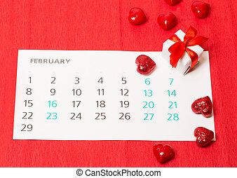 date of February 14 on the calendar