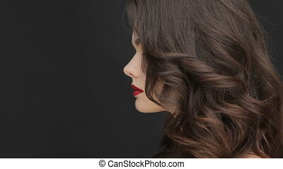The concept of healthy hair of a young girl. Portrait of...