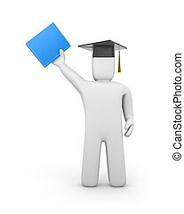 Person with graduation cap and book - Success concept....