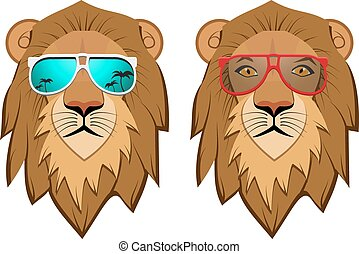 Hipster Lion with sunglasses