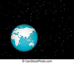 World in space with many stars. isolated vector object