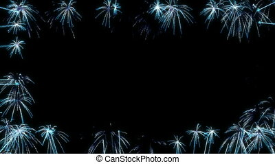 Loopable Blue Fireworks Frame over black. Alpha channel is...