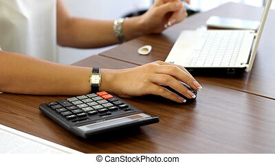 girl working in an office close up workplace HD