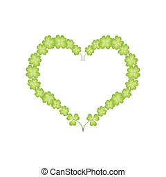 Four Leaf Clovers in A Beautiful Heart - Love Concept,...