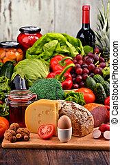 orgânica, carne, alimento, legumes, fruta, incluindo, leiteria, pão