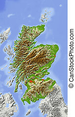 Scotland, shaded relief map