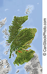 Scotland, shaded relief map - Scotland. Shaded relief map...