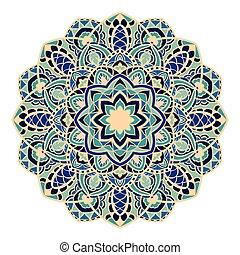 Vector mandala in blue tones. Round element of decor.
