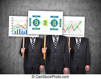 business to business concept - Three businessman in suit...
