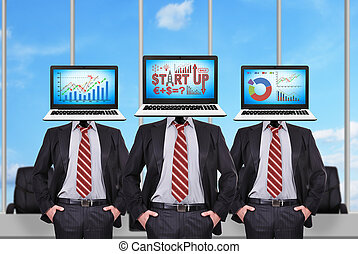 Start up - Three businessman with a laptop instead of a head...