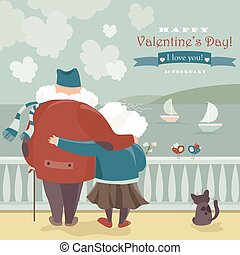 Happy old couple looking at the sea Vector romantic card