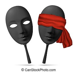Two black masks with open and blindfolded eyes - Two vector...