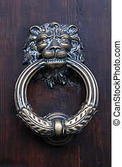 Antique door knob with lion's head on old wooden obsolete...
