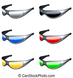 Sunglasses set. - Set of 6 sunglasses, with colour glasses.
