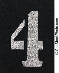 Black Track Lane 4 Marker - Black Track Lane Number Four...