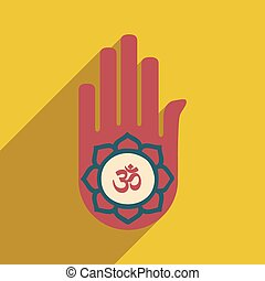 Modern flat icon with long shadow hand sign of om