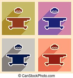 Icons of assembly operating table in flat style
