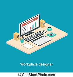 Illustration of modern creative office workplace