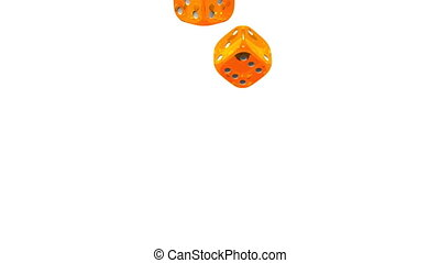 Orange Dice On White Background. 3D render Animation....