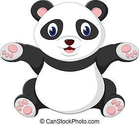 cute panda - illustration of cute baby panda cartoon