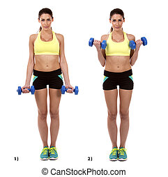 arm curls - fitness woman is doing arm curls on white...