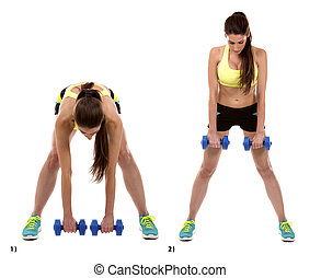 dead lifts - fitness woman is doing dead lifts on white...