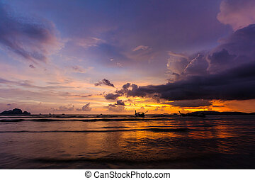 sunset over Ao Nang Beach, Krabi, Thailand