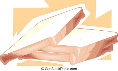 three piece of bread - Illustration of three piece of bread...
