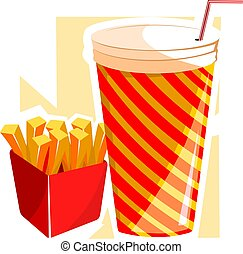 finger chips and drinks - Illustration of finger chips and...